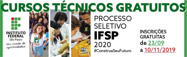 Processo Seletivo para Cursos Técnicos Integrados: inscrições devem ser feitas na página https://processoseletivo.ifsp.edu.br/ entre os dias 23/09 e 10/11